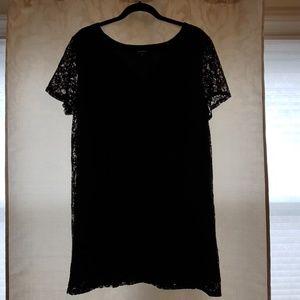 Black Shift lace short sleeve mini dress